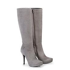 Buffalo Schmalschaft-Stiefel aus grauem Veloursleder