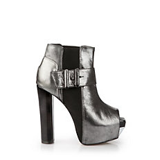 Buffalo Peep Toe Booties in anthrazit-farbener Metallicoptik