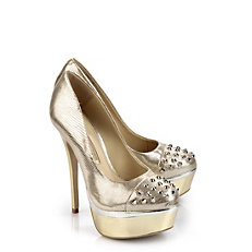 Pumps aus gold-farbenem Leder in Snakeoptik
