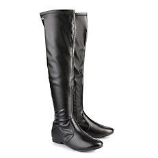 Gefütterte Buffalo Overknee Boots in schwarz