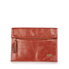 Buffalo Clutch in rot/orange-farbener Lederoptik